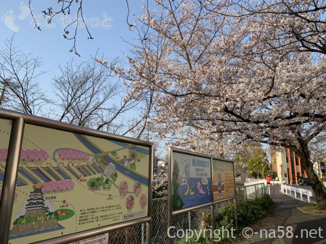 「御用水跡街園」(名古屋市北区)志賀橋付近から黒川方向を見て