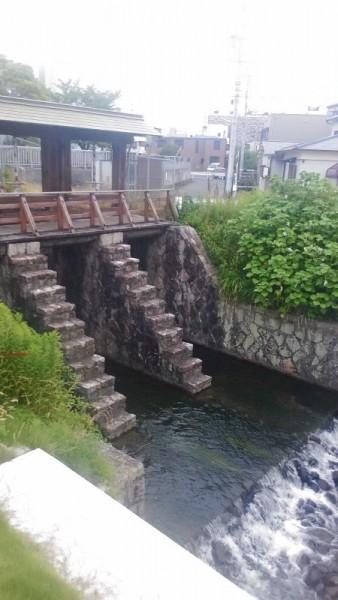 黒川樋門を上から藻他所
