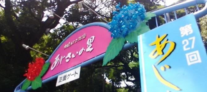 形原温泉あじさいの里2017年・駐車場入場案内・入口付近(愛知県蒲郡市)