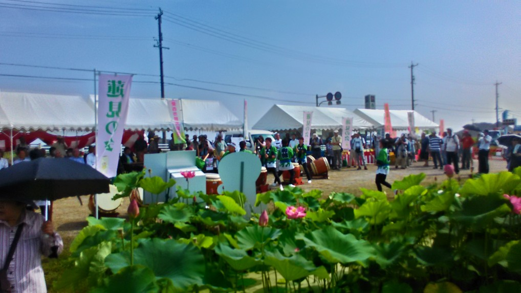 農産物販売と野点のテント