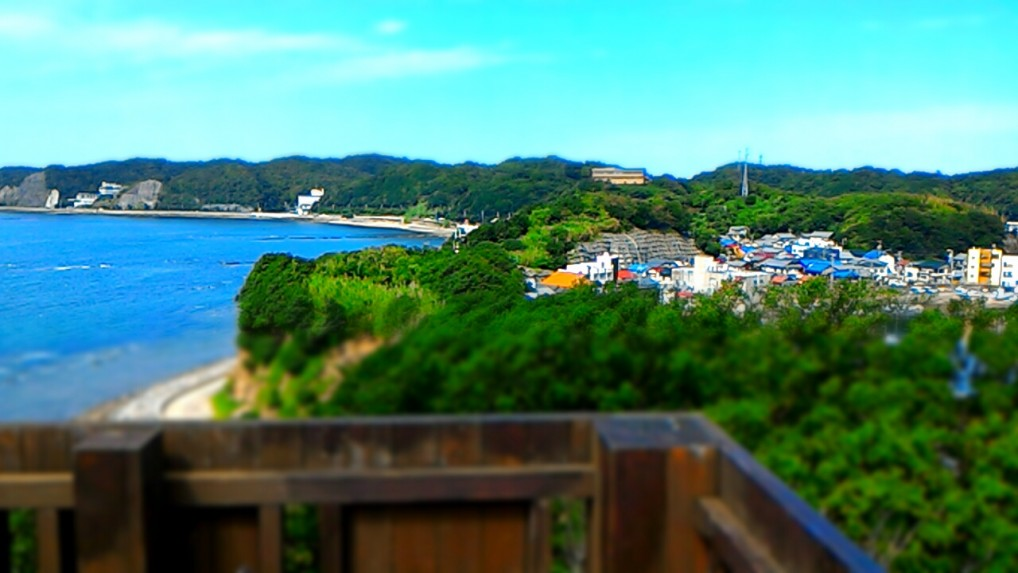羽豆岬展望台からの絶景をジオラマ風に