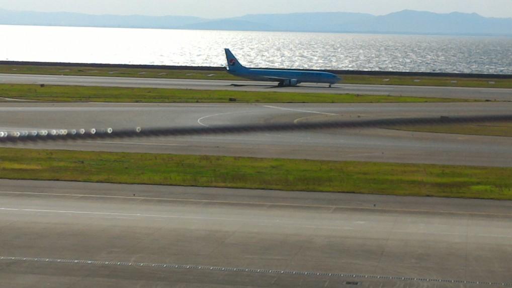中部国際空港セントレアのスカイデッキからみる着陸した旅客機