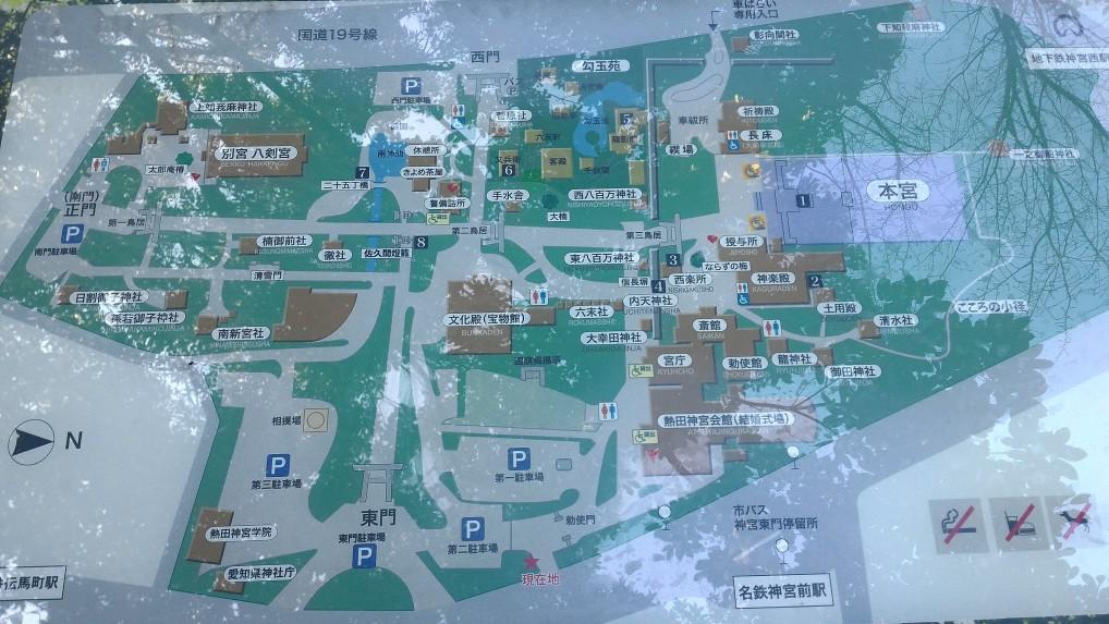 熱田神宮東門駐車場にある熱田神宮の地図