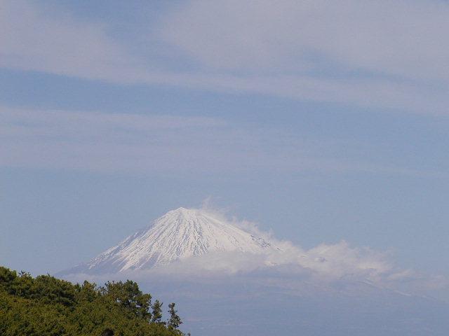 三保の松原(静岡県清水区)から見る雪化粧の富士山アップ