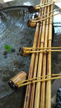 香嵐渓の香積寺の手水やの竹の柄杓