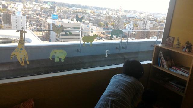 春日井市役所の展望レストランの座敷子供スペースからの展望