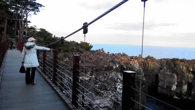 伊東市城ヶ崎海岸の門脇吊橋とそこからの景観