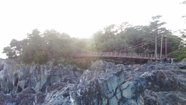 伊東市城ヶ崎海岸の門脇吊橋遠景