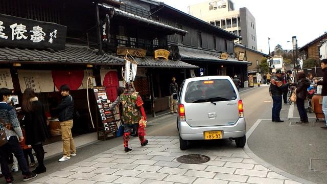 国宝犬山城(愛知県犬山市)城下町で甲冑姿の武者