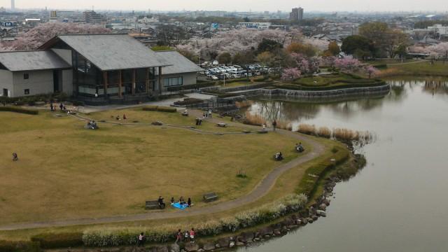 愛知県春日井市落合公園のフォリーの塔最上階からのながめ