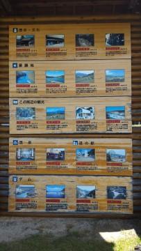 岐阜県恵那市「道の駅らっせいみさと」駐車場にある観光名所看板