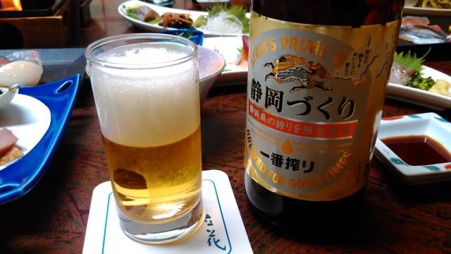 熱海温泉旅館立花の鯛めしプランの料理のときの静岡ビールの静岡づくり