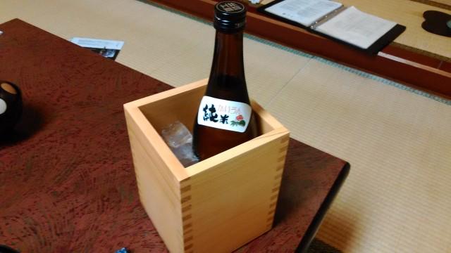 熱海温泉旅館立花の鯛めしプランの料理のとき頼んだ冷酒かいうん純米酒
