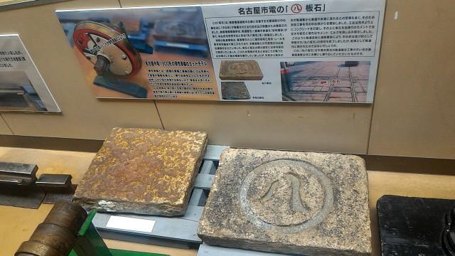 レトロ電車館(名古屋市市電地下鉄保存館)の展示路面電車の車両のモデルと丸八の板石