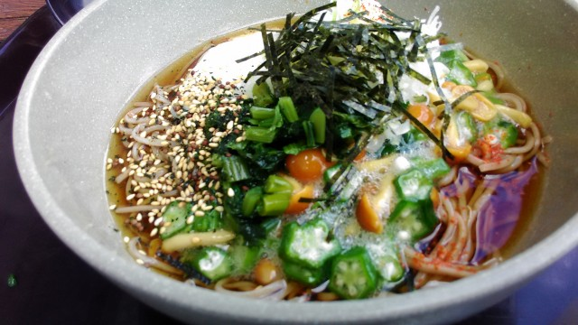 茶臼山高原のレストハウス「やはず」のとろろ山菜そば