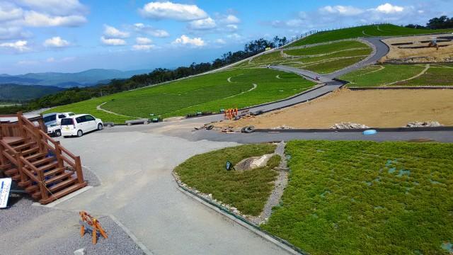 茶臼山高原萩太郎山にある芝桜の丘今は緑