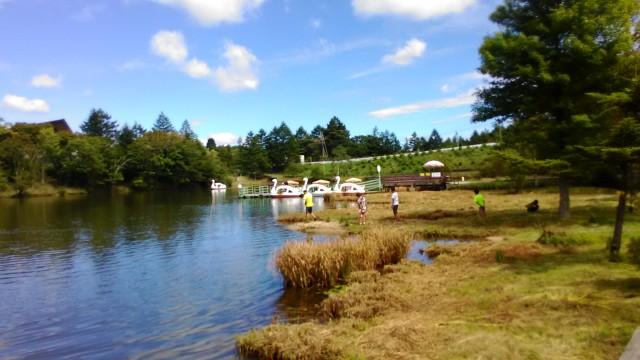 茶臼山高原の矢筈池ボートあり