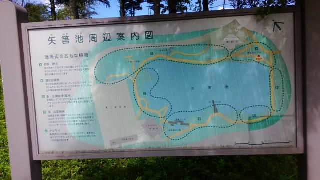 茶臼山高原の矢筈池(やはずいけ)の周囲の案内図