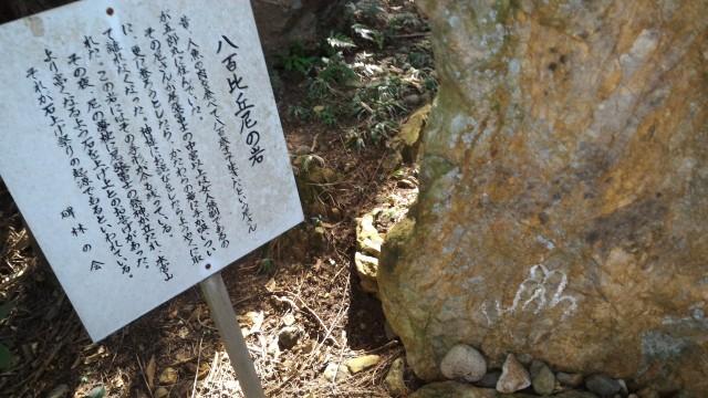 「尾張富士大宮浅間神社」中宮から奥宮への道すがら八百比丘尼の岩
