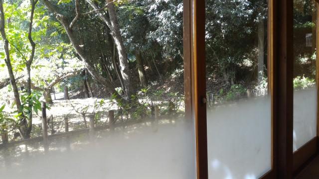 日本昭和村のそば処「とうげ」の店内からの景色