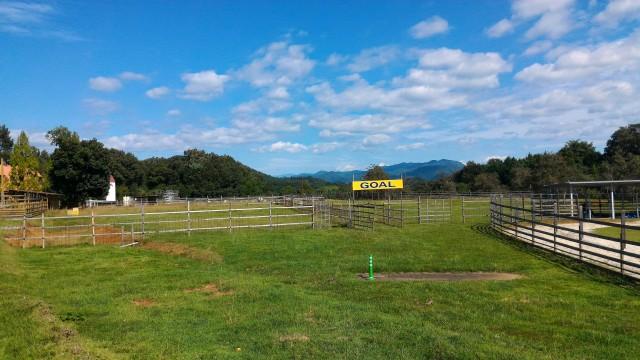 日本昭和村のふれあい牧場・馬乗り場付近の見晴台からの景色