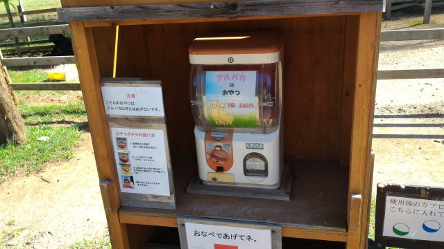 日本昭和村のふれあい牧場アルパカのおやつが売っている