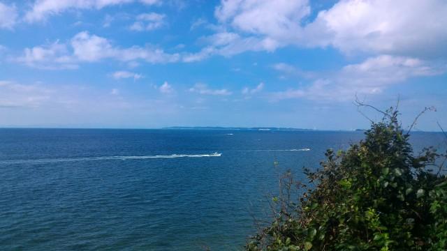 伊良湖岬連絡船を裏山から眺める