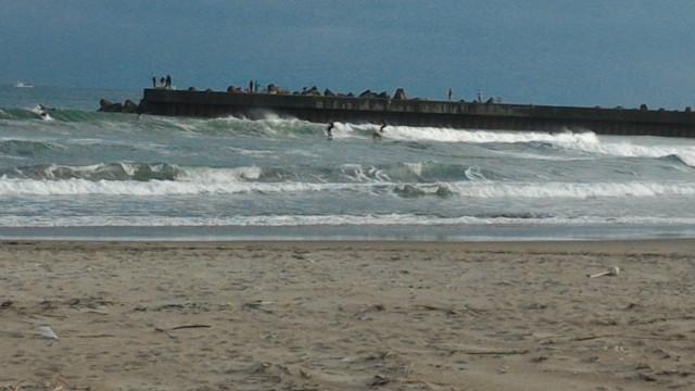 渥美半島赤羽根海岸でサーフィンする人たち