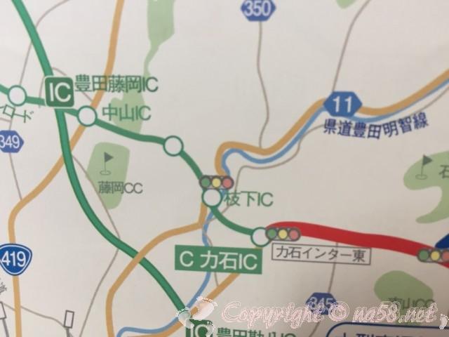 香嵐渓(愛知県豊田市)の迂回路マップ、枝下ICと力石IC