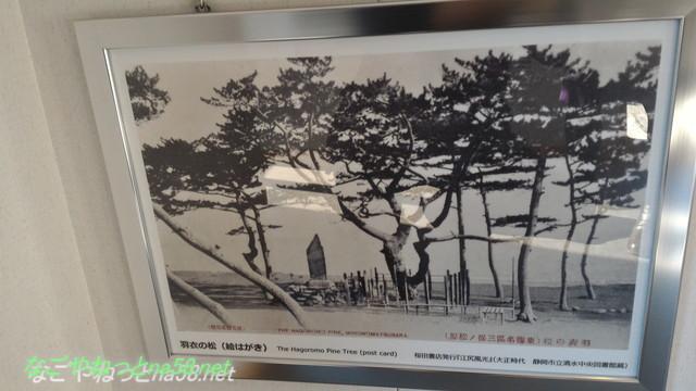 静岡県三保の松原駐車場に隣接の歴史文化のわかるプレハブ施設内昔の絵葉書白黒羽衣の松
