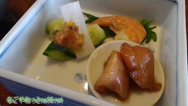 鯉料理「大黒屋」(三重県桑名市)ランチメニュー、季節の小鉢のひとつ