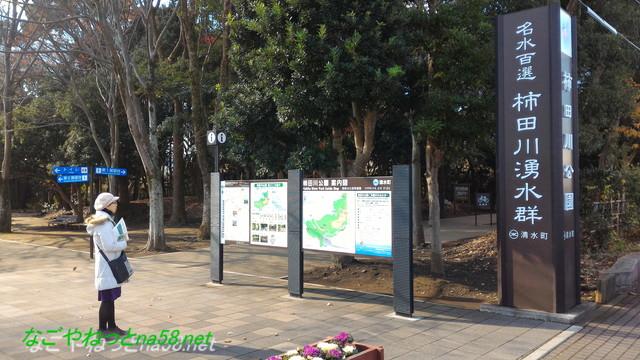 柿田川湧水群の通り沿いの立札と柿田川公園の案内図