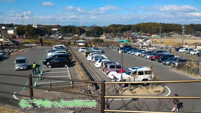 佐布里池の梅林(愛知県知多市)の施設裏の大駐車場