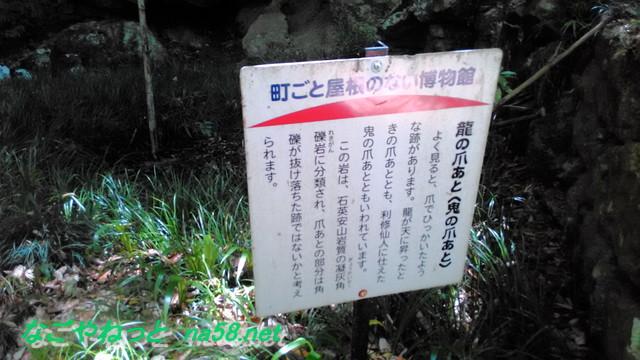 鳳来寺本堂付近の龍の爪あと解説