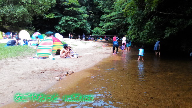 愛知県豊田市王滝渓谷浅瀬で遊ぶ親子