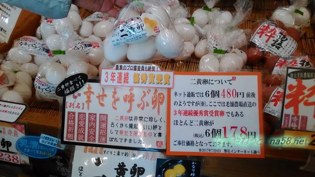 知多市美浜町小野浦海岸「食と健康の館」で購入した二黄卵