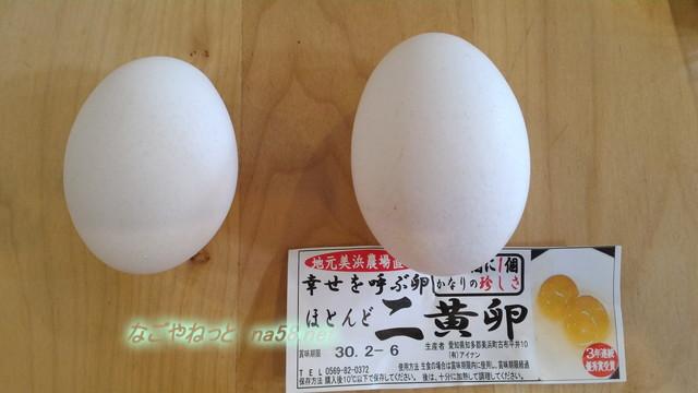 二黄卵と普通の卵の比較