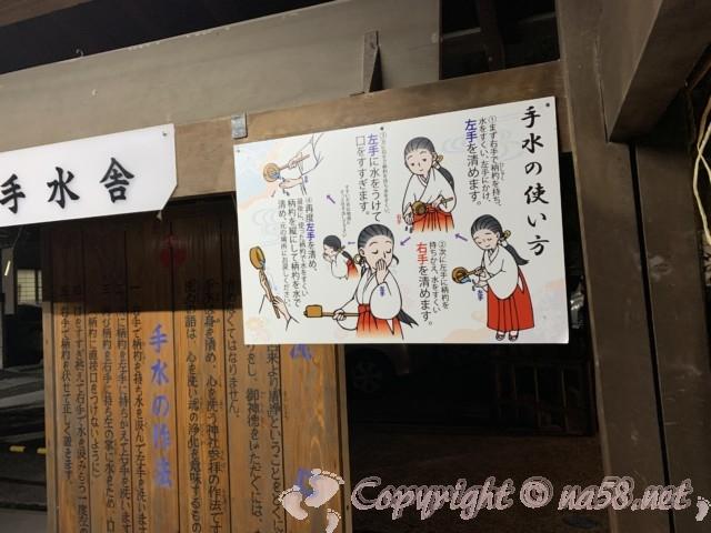 伊奴(いぬ)神社(名古屋市西区)手水の使い方説明