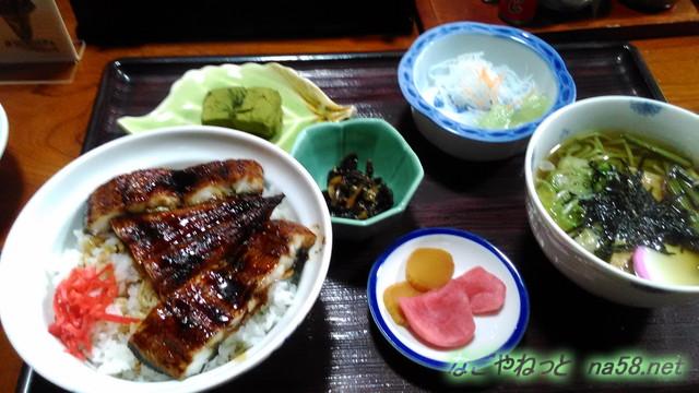 岐阜県賀茂郡七宗町の「七宗御殿」座敷で食事、うな丼定食