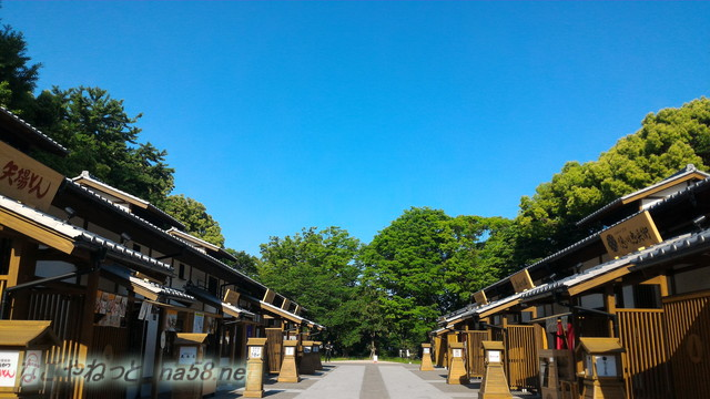 名古屋城の金シャチ横丁の正門付近の義直ゾーンの街並み
