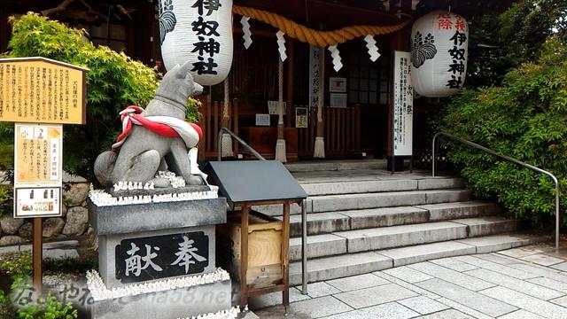 名古屋市西区いぬ神社の狛犬と神殿