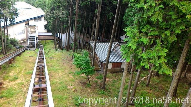 三重県菰野町「希望荘」のケーブルカー山頂館から本館を見る、右手は森の中の温泉施設