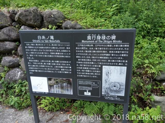 静岡県の富士宮市「白糸の滝」解説標識