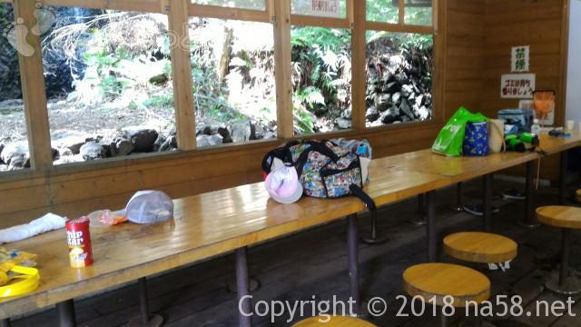 多度天然プール(三重県桑名市)の無料休憩所の中椅子テーブル