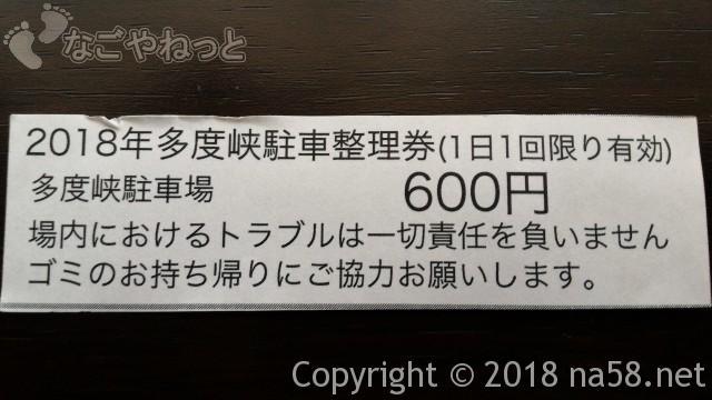 多度天然プール(三重県桑名市)プールに最も近い奥の駐車場600円