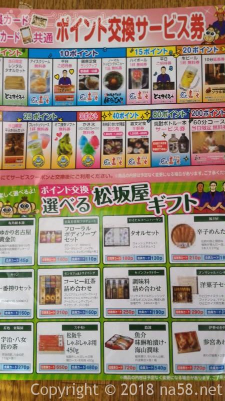 太閤天然温泉とうきちろうのポイント交換サービス券のサービス