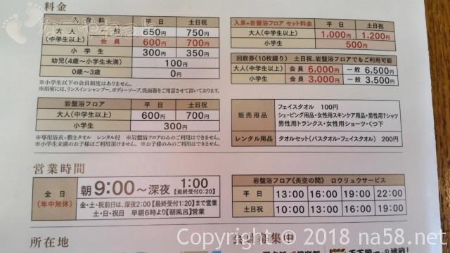 太閤天然温泉湯吉郎(とうきちろう)の料金、営業時間