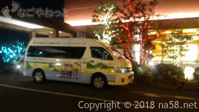 太閤天然温泉とうきちろうの玄関イルミネーションと無料送迎シャトルバス
