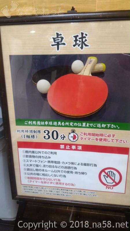 コロナの湯中川店(名古屋市中川区)一階の卓球設備の料金