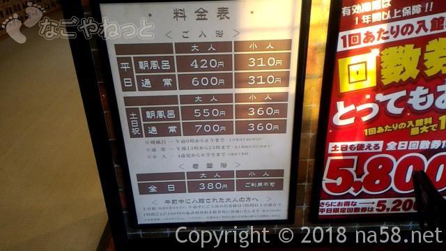 和合温泉「湯楽」日進市の通常料金